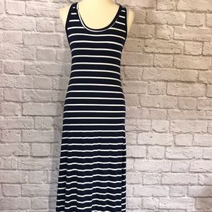 Striped cross strap Maxi tank dress, navy, S